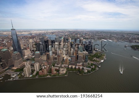 View over Manhattan from helicopter - stock photo