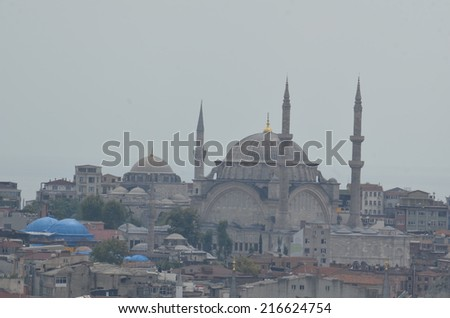 View over mosque from the top of galata tower in beyoglu, istanbul. - stock photo
