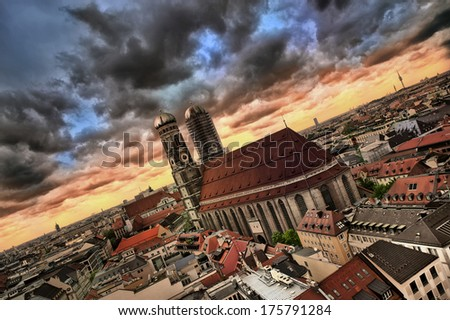 view over Munich city before the storm