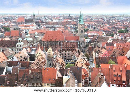 View over Nuremberg old town from the Kaiserburg, Franconia, Bavaria, Germany.
