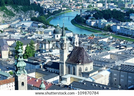 View over old town in Salzburg from Hohensalzburg castle, Austria - stock photo