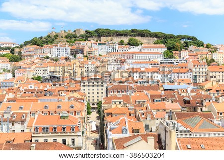 View over old town lisbon and Castelo de Sao Jorge