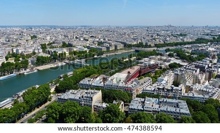 View over Paris and River Seine.