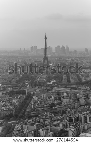 View over Paris from the Montparnasse Tower in high resolution