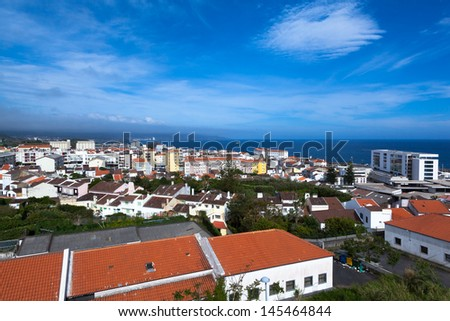 view over Ponta del Gada on St. Miguel on the Azores - stock photo