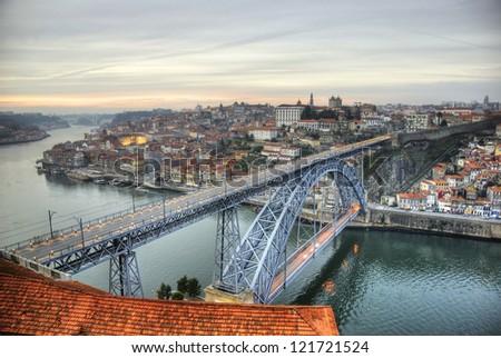View over Ponte Luis I bridge, Porto, Portugal - stock photo