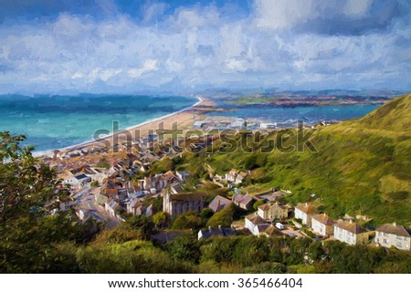 View over Portland and Chesil beach Dorset England UK part of the Devon and Dorset Jurassic Coast, a World Heritage Site illustration like oil painting