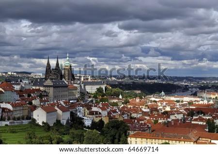 View over Prague, Czech Republic - stock photo