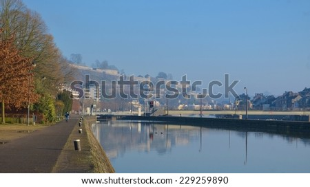 View over riverside promenade in belgian Namur. - stock photo