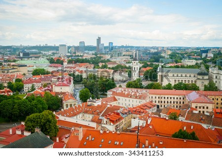 View over rooftops of Vilnius in summer, Lithuania