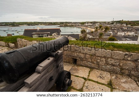 View over St Mary in the Scilly Isles - stock photo