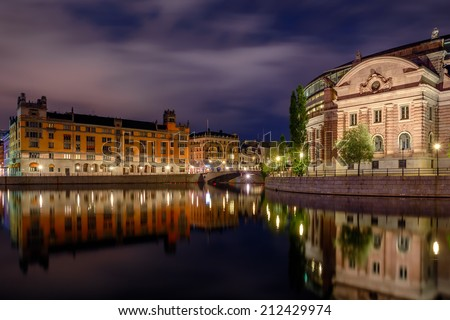 View over Stockholm city at night - stock photo