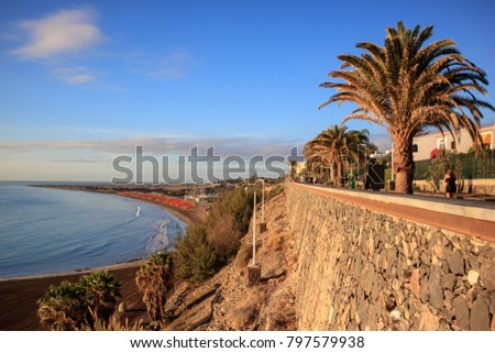 View over the beach and walking alley in Playa del Ingles, Gran Canaria, Spain