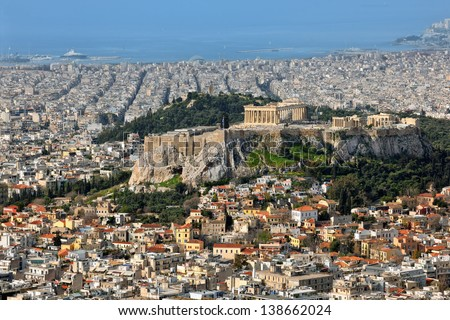 View over the city and the acropolis from Lycabettus hill in Athens, Greece - stock photo