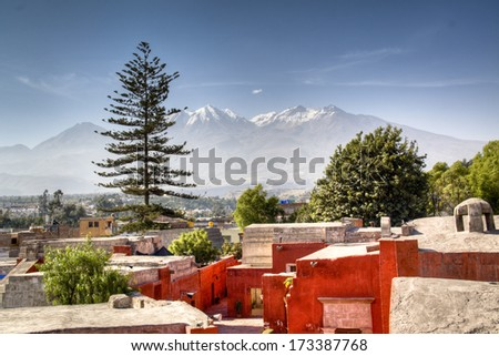 View over the city of Arequipa, Peru - stock photo
