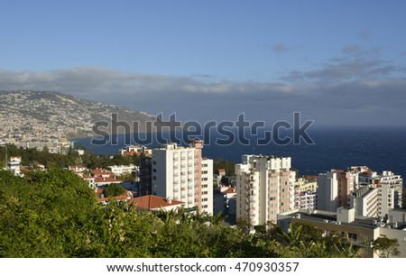 View over the city of Funchal from the suburbs. Madeira, Portugal. With hotel area in foreground.