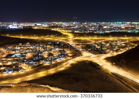 View over the city of Muscat at night. Sultanate of Oman, Middle East