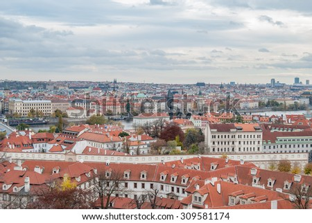 View over the city of Prague in the Czech Republic