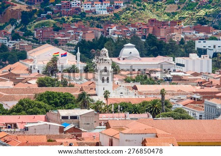 View over the city of Sucre, Bolivia - stock photo