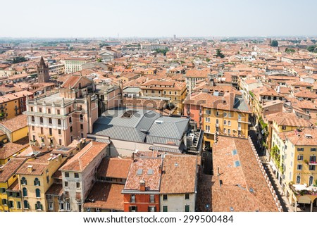 View over the city of Verona (Italy) - stock photo