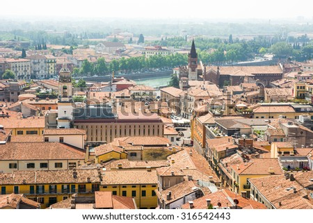 View over the city of Verona (Italy)