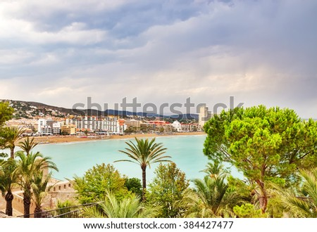 View over the coastline and hotels of Peniscola, the resort in the province of Castellon, Valencian Community, Spain.