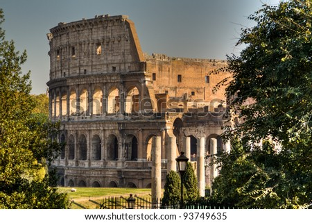 View over the Colosseum from Forum Romanum in Rome, Italy
