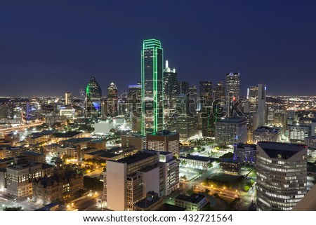 View over the Dallas downtown district illuminated at night. Texas, United States - stock photo