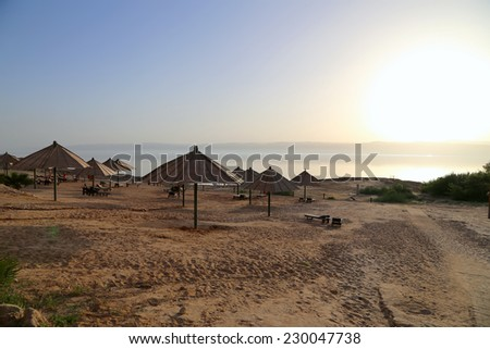 View over the dead sea -- from the Jordan coastline  - stock photo