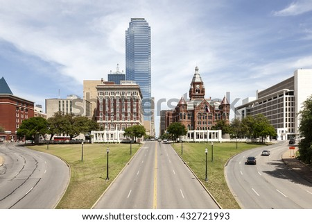 View over the Dealey Plaza in the city of Dallas. Texas, United States