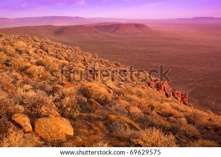 view over the dry karoo landscape in south africa - stock photo
