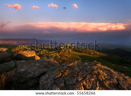 view over the escarpment at dusk in Drakensberg Mountains, South Africa - stock photo