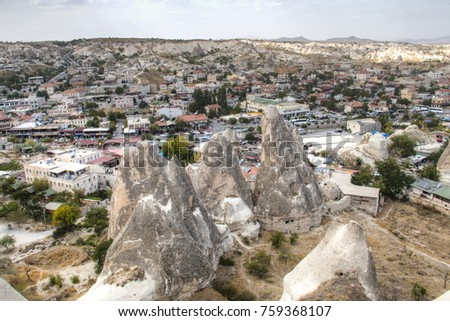 View over the famous town Goreme in the center of Cappadocia in Turkey
