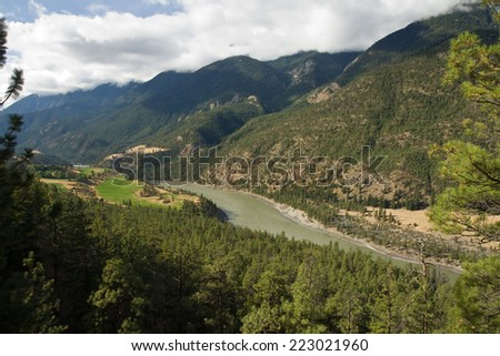 View over the Fraser River and upper Fraser Canyon, British Columbia, Canada - stock photo