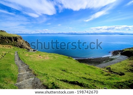 View over the green coastline of the Isle of Skye, Scotland - stock photo