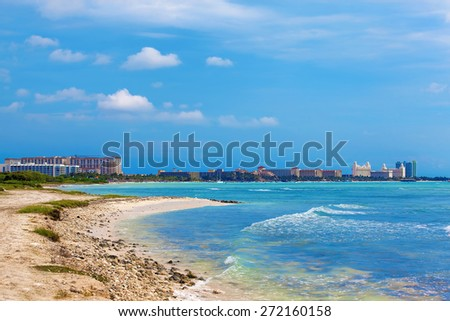 View over the high rise area on Aruba - stock photo