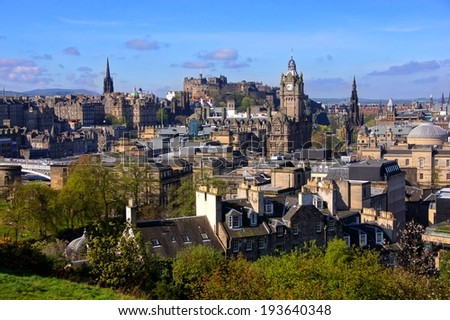 View over the historic center of Edinburgh Scotland - stock photo