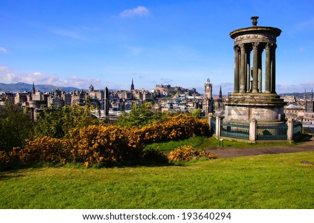 View over the historic center of Edinburgh Scotland from Calton Hill - stock photo