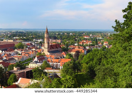 View over the historic city of Landshut, Bavaria, Germany, from the castle hill. - stock photo