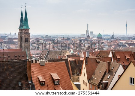 View over the historic city of Nuremberg (Germany) - stock photo