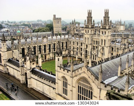 View over the historic university of Oxford, England - stock photo