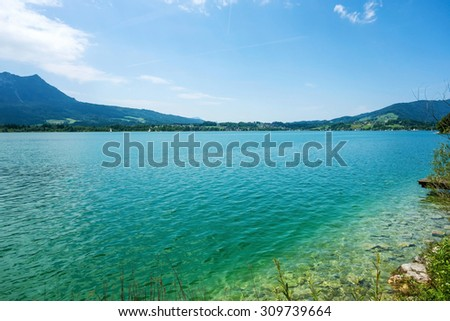 View over the lake Attersee, Austria, Europe - stock photo
