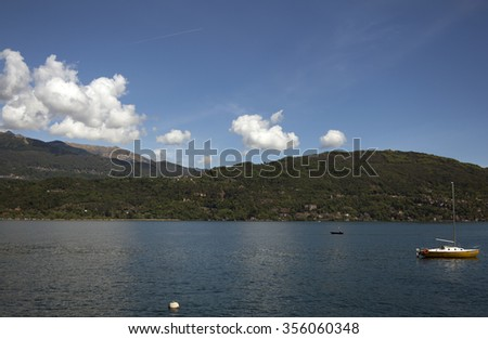 view over the lake of maggiore - stock photo