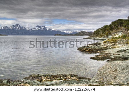 View over the lake of Tierra del Fuego in Ushuaia, Argentina - stock photo