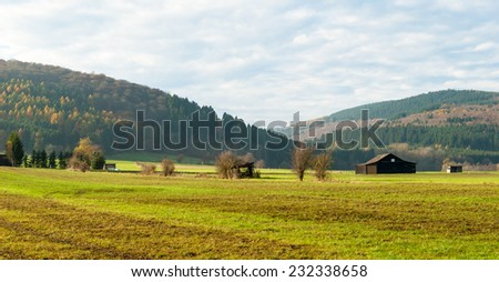 View over the meadows in the nature reserve Valley of Gelaengebach in Medebach, Sauerland, Germany