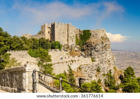 View over the Medieval Castle of Venus in Erice, Sicily, Italy - stock photo