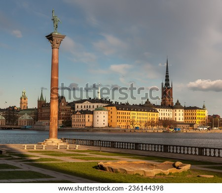 View over the old town -Gamla Stan- in Stockholm, Sweden - stock photo