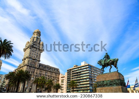 View over the Plaza Independencia in Montevideo , Uruguay. - stock photo