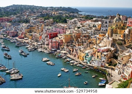 View over the port of the island of Procida, Campania, italy, gulf of Naples,