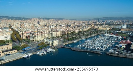 View over the port vell residential harbor in barcelona from the cable car stretched over the water.